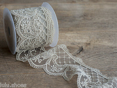 Lace Ribbon with heavy embroidered detial scalloped edge lace *70mm wide* IVORY