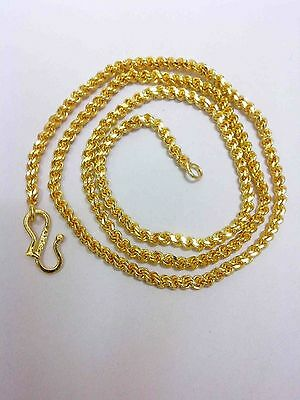 24K 24ct Gold Yellow Solid GP Jewelry 4mm harness rope Unisex Chain Necklace 22""