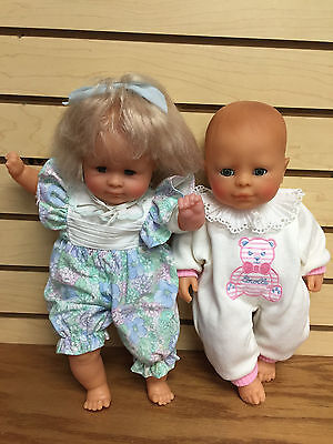 "TWO VINTAGE Corolle Baby 14"" Dolls Catherine Refabert * Newlike Super Cute"