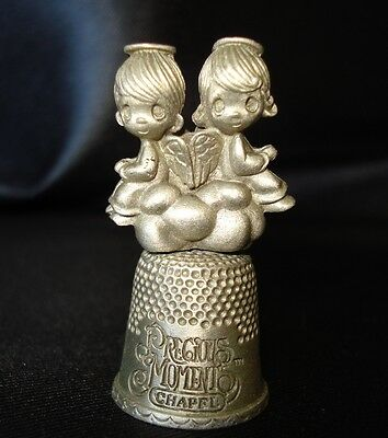 Collectible  Precious Moments Chapel Pewter Thimble Boy and Girl