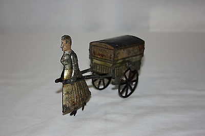 Antique R F French Tin Wind Up Gyroscopic Inertia Drive Woman Pulling Cart VG