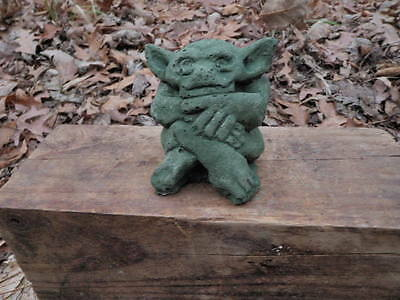"Tiny Cement 3"" Tall Gargoyle Garden Statue Green Patina Concrete Ugly But Cute"