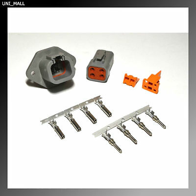 Deutsch DTP 4-Pin Genuine Flange Connector Kit with 12-14 AWG Stamp Pins