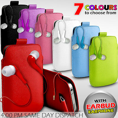 Leather Pull Tab Pouch Skin Case Cover Earbud Earphone Fits Various LG Phones