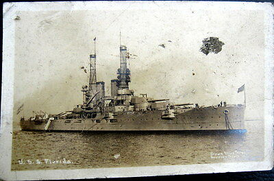 **1900's BATTLE SHIP ~ U. S. S. FLORIDA ~ Brown Bros. Real Photo PC  RPPC