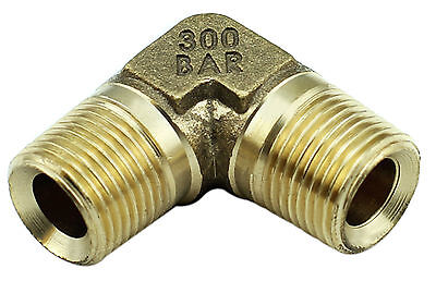 "Brass Elbow Fitting – 3/8"" Male x 3/8"" Male BSP - 4350PSI - Tapered (Box of 5)"