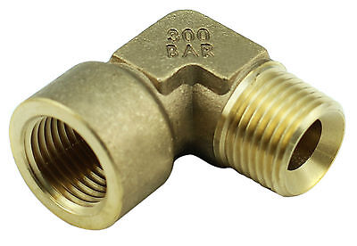 "Brass Elbow Fitting - 1/2"" Female x 1/2"" Male BSP 4350PSI, Tapered High Pressure"