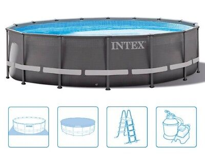 Intex 28324 Ultra Frame 488 x 122 cm Stahlrahmen Swimming Pool Komplettset