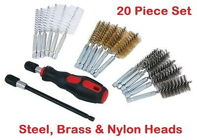 Professional Wire Brush Cleaning Kit 20Pcs Set Metal Remover Dust Rust Brass New