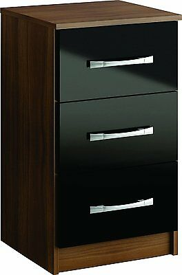 Lynx 3 Drawer High-Gloss Bedside Cabinet Chest, Walnut & Black