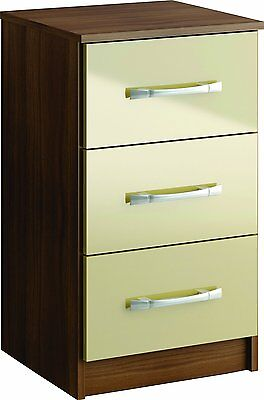 Lynx 3 Drawer High-Gloss Bedside Cabinet Chest, Walnut & Cream