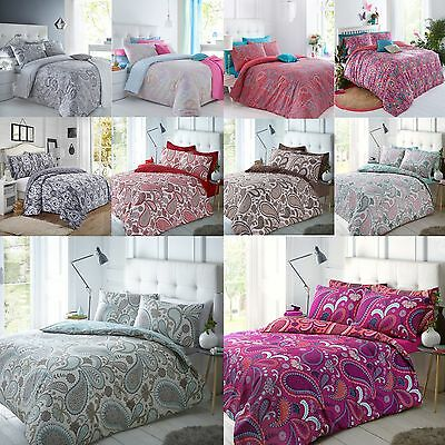 Paisley Duvet Bedding Quilt Cover & Pillowcase Set Single Double King Grey Coral