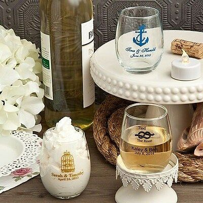 50 Personalized Printed 5.5oz Stem less Wine Glasses Wedding Shower Favors