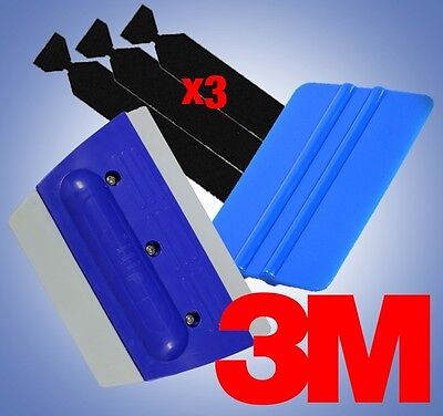 Blue 3M Squeegee Rubber Applicator Tool 3 Felt Edge Decal Tips Vinyl Wrap Kit