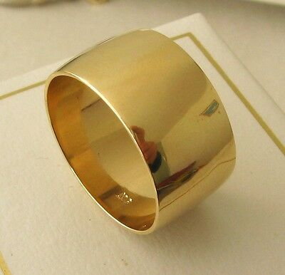 10 MM 9K 9ct FULL SOLID GOLD WIDE WEDDING BAND RING Size O/71/2  to  Z /13