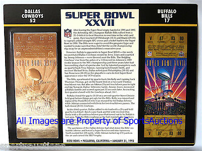 SUPER BOWL 27  DALLAS COWBOYS vs BILLS Willabee & Ward 22KT GOLD TICKET SB XXVII