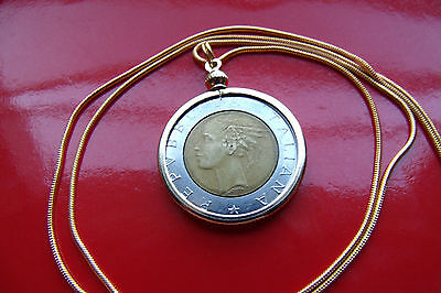 """Italian 500 Lire Classic Coin Pendant on a 24"""" 18k Gold Filled Snake Chain"""