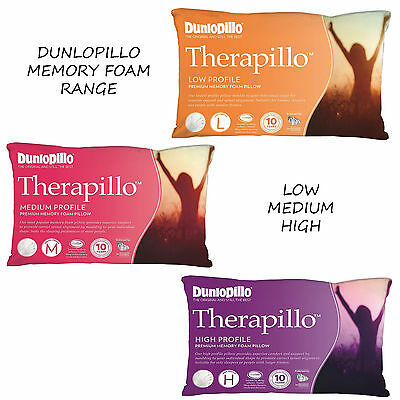 Dunlopillo Therapillo PREMIUM MEMORY FOAM Profile Pillow Range | Low Medium High