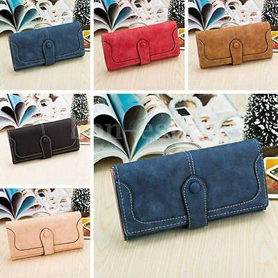 Women Lady Leather Wallet Button Long Clutch Purse Card Holder Case Handbag Bag