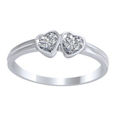 Sterling Silver 925 ring size 4 CZ Heart cut Kids Baby Girls Twin Double New