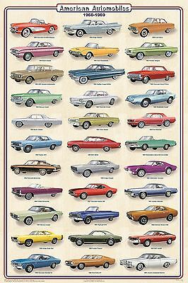 AMERICAN AUTOMOBILES CARS 1960-1969 POSTER (91x61cm) WALL CHART NEW LICENSED ART