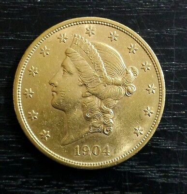 1904 $20 Liberty Head Double Eagle Gold Coin twenty dollars USA