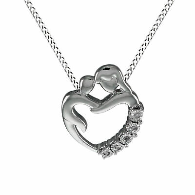 """Sterling Silver Mother-and-Child Pendant with Diamonds with 18"""" Chain Necklace"""