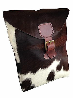 Stunning Cow Fur Bohemian Hippi Leather Field Hunting Pouch Bag - London Design