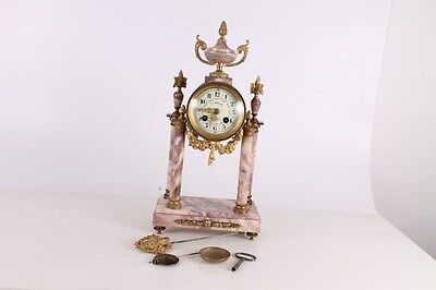 Antique Old Stunning French Made Bronze Marble Portico Clock With Gold-Plate.