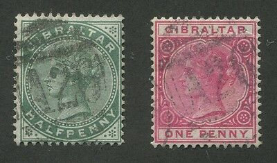 Gibraltar #8, 10 Used Numeral Cancels