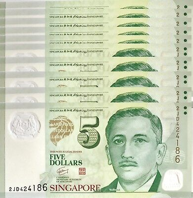 Singapore $5 Dollar Nd 2007 P 47 Unc Polymer (10 Notes)
