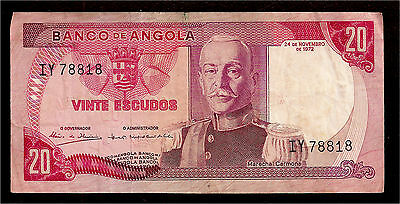 World Paper Money - Angola 20 Escudos 1972 P98 @ F-VF