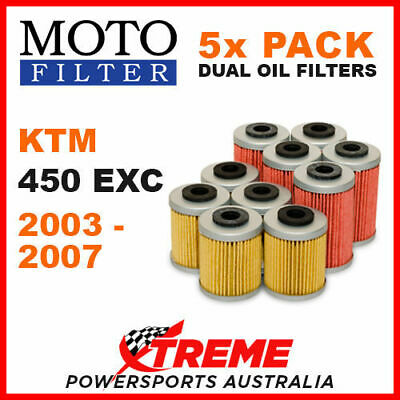 5 Pack Moto Mx Oil Filters Ktm 450Exc 4T 450 Exc 4 Stroke 2003-2007 Enduro Bike