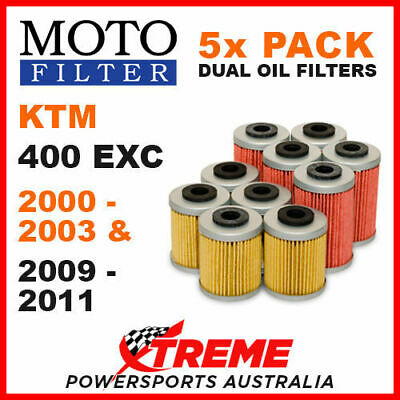 5 Pack Moto Mx Oil Filters Ktm 400Exc 4T 400 Exc 4 Stroke 2000-2003 & 2009-2011