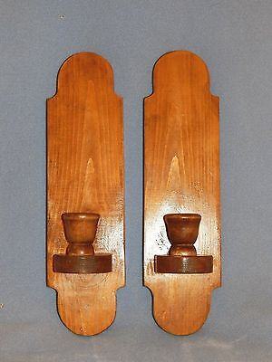 Pair of Solid Genuine Wooden Wall Candle Sconces - Easy to Hang - VERY NICE!
