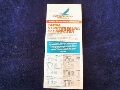Vtg 1983 Piedmont Airlines Timetable Tampa St Petersburg Clearwater July 15  R26
