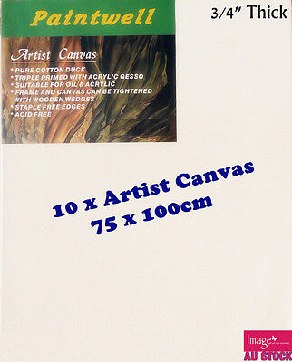 """10x Standard Blank Artist Stretched Canvas 76x102cm 3/4"""" Thick 330gsm-SCS-3040"""