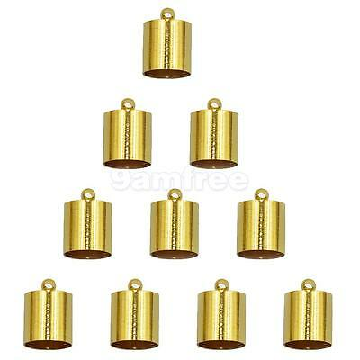 10pcs Brass End Bead Cap Tip for 7mm 8mm Cord Jewelry Necklace Findings Gold