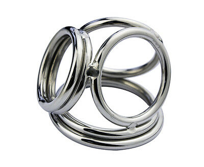 Four Stainless Steel Male Chastity Device Rings And Ball Enhancer A171