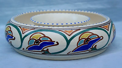 Honiton Pottery Posy Bowl or Flower  Ring - signed A -  Art Deco Design