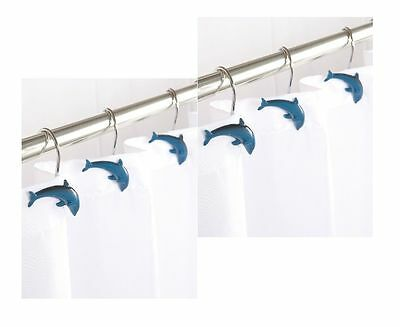New Blue Dolphin Porpoise Fish Shaped Shower Curtain Hooks Set 12 Bath Hooks
