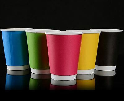100 pcs of Double Wall Kraft Paper Color Coffee Hot Cup with black lid- 12oz