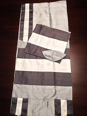 Gray RAW SILK Tallit Set