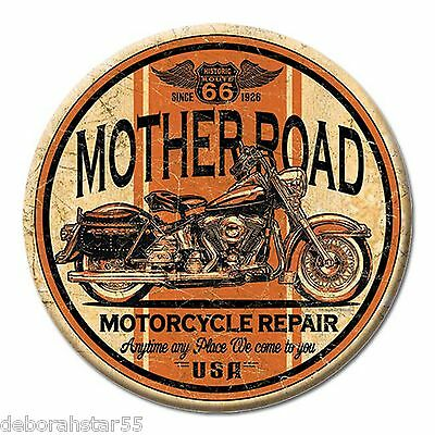 Route 66 Mother Road Motorcycle Garage Tool Box Mini Metal Tin Sign MAGNET 3""