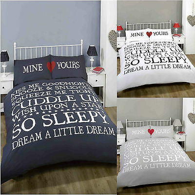 So Sleepy Heart Scroll Duvet Quilt Cover Bedding Set & Pillowcases Mine Yours