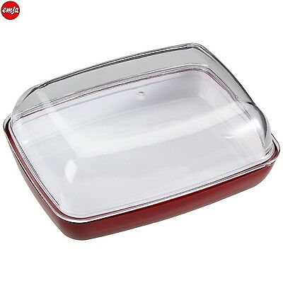 EMSA Vienna Butter Dish in Red With Transparent Lid 14cm Kitchen New