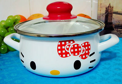 Hello Kitty 16cm with Lid RED Bow Pattern Easy Daily Multiple Use BOILING POT