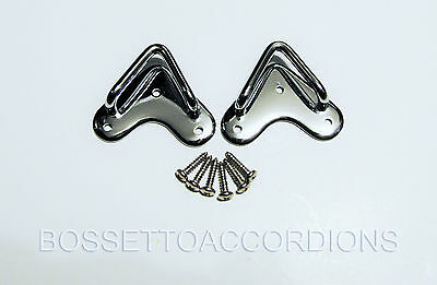 SET OF 2 Accordion Shoulder Straps Brackets Fixing Clasp Hohner Style from Italy