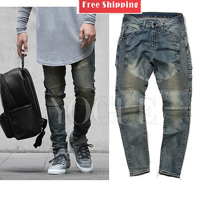 Men's Skinny Jeans Biker Jeans Slim Fit Demin JEAN Pants Straight Trousers Blue