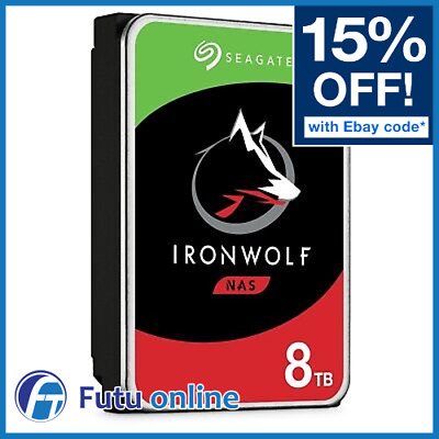 "Seagate 8TB IronWolf SATA 3.5"" NAS HDD Internal Hard Drive 7200RPM 256MB Cache"